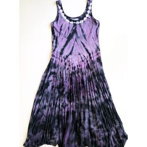 American South Side Purple Tie Dye Maxi Dress